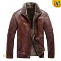 Mens Brown Fur Lined Leather Jacket CW819064 - CWMALLS.COM
