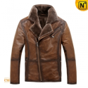 Fur Lined Mens Leather Jacket CW819066 - CWMALLS.COM