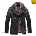 Black Fur Lined Leather Coat Mens CW819068 - CWMALLS.COM