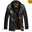 Mens Fur Lined Leather Coat CW833337 - JACKETS.CWMALLS.COM