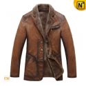 Mens Brown Fur Lined Leather Coat CW819075 - CWMALLS.COM