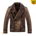Mens Brown Fur Lined Leather Jacket CW819084 - CWMALLS.COM