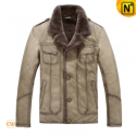 Fur Lined Mens Leather Jacket CW819163 - CWMALLS.COM