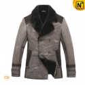Mens Fur Lined Leather Trench Coat CW819167 - CWMALLS.COM