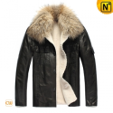 Fur Lined Leather Jacket Mens CW819183 - CWMALLS.COM