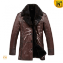 Mens Brown Leather Fur Coat CW819466 - CWMALLS.COM