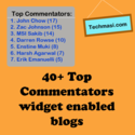 Verified List of 40+ Top Commentators Widget Enebled Blogs