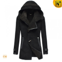 Womens Black Fur Lined Leather Hooded Coats CW695118 - CWMALLS.COM