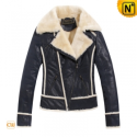 Womens Blue Wool Lined Leather Jackets CW695112 - CWMALLS.COM