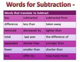 Subtraction Word Sentences
