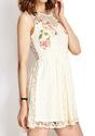 Red Rose Lace Dress - White - Lookbook Store