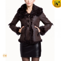 Ladies Fur Lined Leather Hooded Jacket CW695107 - CWMALLS.COM