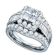3.00 Carat (ctw) 14K White Gold Round, Princess & Baguette White Diamond Ladies Engagement Ring Set 3 CT