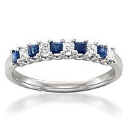 14k White Gold Princess-cut Diamond & Blue Sapphire Bridal Wedding Band Ring (1/2 cttw, H-I, I1-I2)