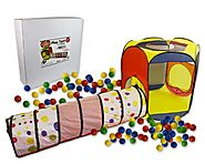 Play Tent with Tunnel and 100 Balls- Indoor and Outdoor Easy Folding Ball Pit with Carrying Case