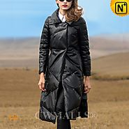 CWMALLS® Womens Leather Down Trench Coat CW651005