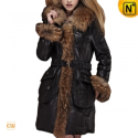 Fur Trimmed Leather Down Hooded Coat CW685048 - CWMALLS.COM