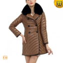 Women Fur Trimmed Leather Down Coat CW681164 - JACKETS.CWMALLS.COM