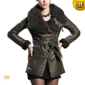 Women Fur Trimmed Leather Jacket CW684053 - JACKETS.CWMALLS.COM