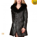 Women Fur Trimmed Leather Down Coat CW685041 - JACKETS.CWMALLS.COM