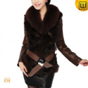 Women Brown Leather Fur Trimmed Coat CW680028 - JACKETS.CWMALLS.COM