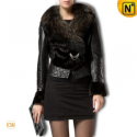Women Fur Trimmed Leather Jackets CW21125 - CWMALLS.COM