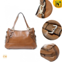 Women Brown leather Shoulder Handbags CW300105 - CWMALLS.COM