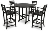 Trex Outdoor Furniture TXS119-1-CB Monterey Bay 5-Piece Bar Set, Charcoal Black