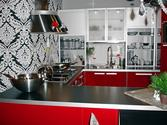 Black White Red Kitchen Design Ideas, Pictures, Remodel and Decor