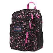 Jansport Big Student Classics Series Daypack in Lipstick Pink Tea Rose Ditzy