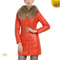 Leather Down Coat with Fur Collar CW613507