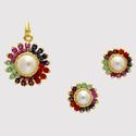 EXCLUSIVE STONE STUDDED SUN LOCKET SET WITH EARRINGS (NAVRATNA) – PCL1036