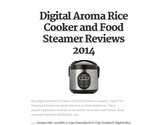 Digital Aroma Rice Cooker and Food Steamer Reviews 2016