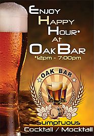 Enjoy Happy Hours at OAK BAR with Buy 2 Get 1 Free.