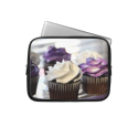 Close-up of cupcakes with selective focus on computer sleeve from Zazzle.com