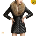 Christmas Fur Trimmed Leather Coat CW692305 - CWMALLS.COM