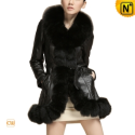Christmas Fur Trimmed Leather Coat CW693255 - CWMALLS.COM