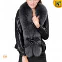 Fur Trimmed Christmas Leather Jacket CW684058 - CWMALLS.COM