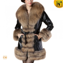 Christmas Fur Trimmed Leather Coat CW684036 - CWMALLS.COM
