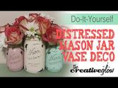 Distressed Mason Jar Vase Piece - Shabby Chic