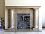 Custom Travertine Mantel at Wilshire Fireplace Shop