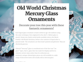 Old World Christmas Mercury Glass Ornaments