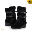 Black Rabbit Fur Snow Boots CW332102 - CWMALLS.COM