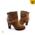 Brown Thick Heel Boots Women CW309155 - CWMALLS.COM